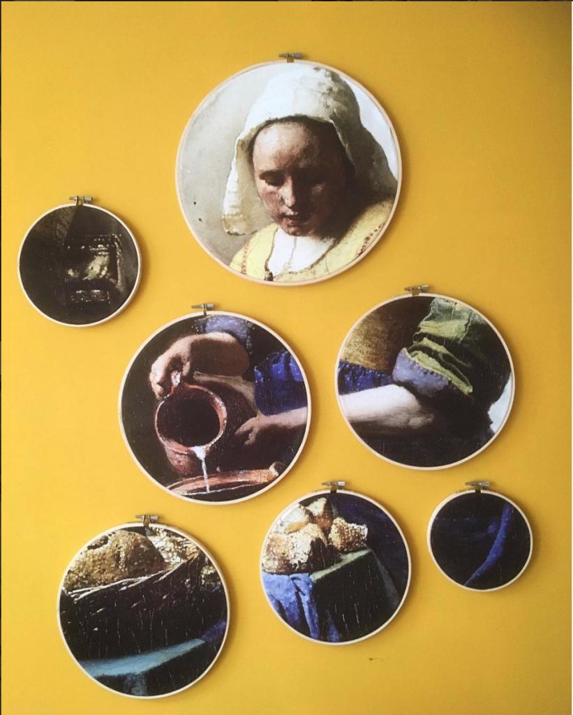 interieur wanddecoratie in borduurringen: Melkmeisje van Johannes Vermeer
