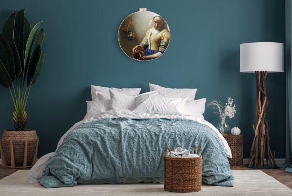 Zo kan het Melkmeisje I eruit zien in een landelijk, blauwe slaapkamer
